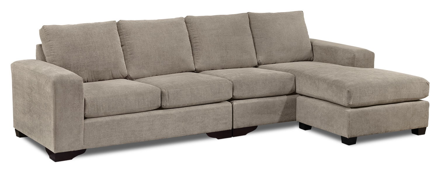 Living Room Furniture - Danielle 2-Piece Sectional - Pewter
