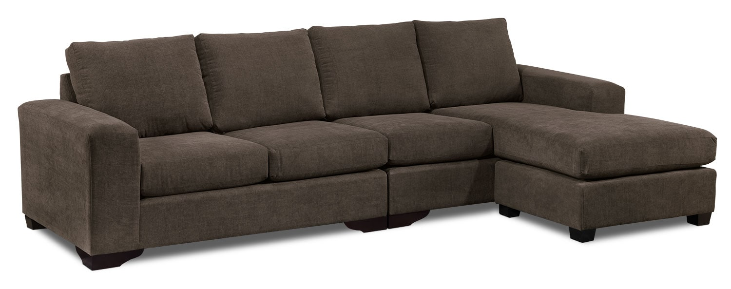 Living Room Furniture - Danielle 2-Piece Sectional - Java