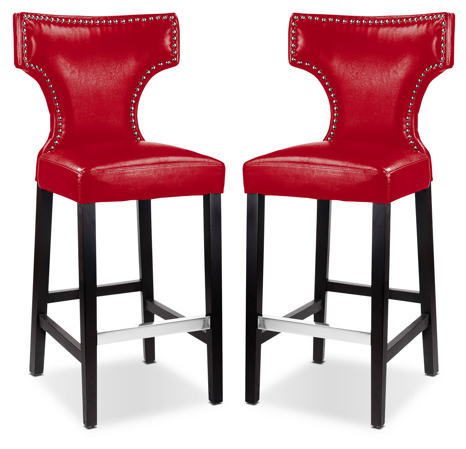 Kings Bar Stool with Metal Studs, Set of 2 – Red