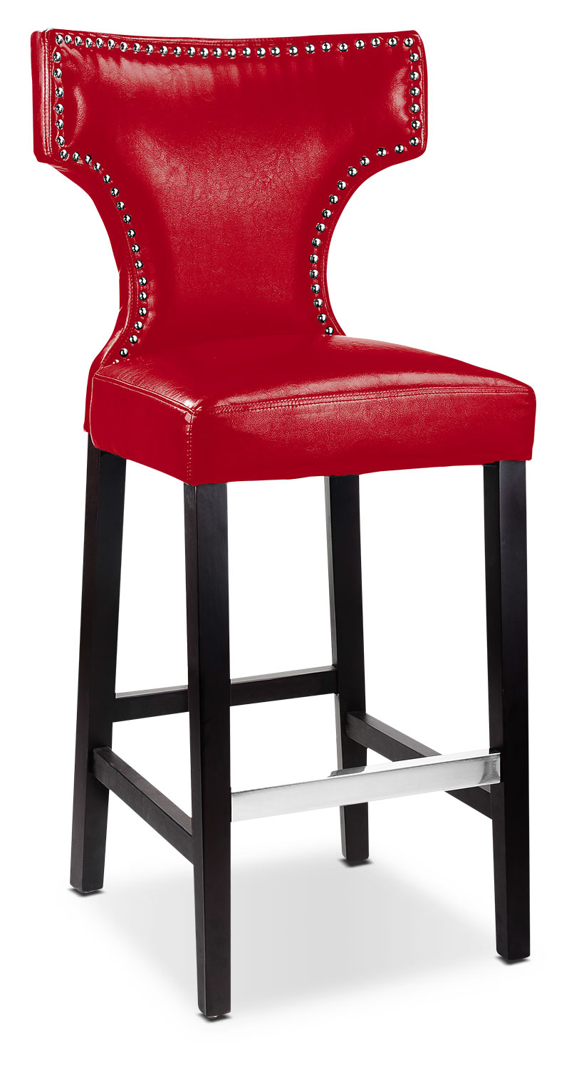 Dining Room Furniture - Kings Bar Stool with Metal Studs – Red
