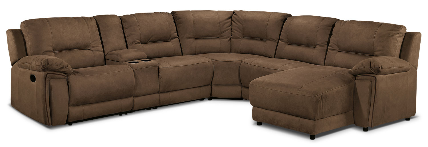 Pasadena 6-Piece Right-Facing Reclining Sectional - Hazelnut