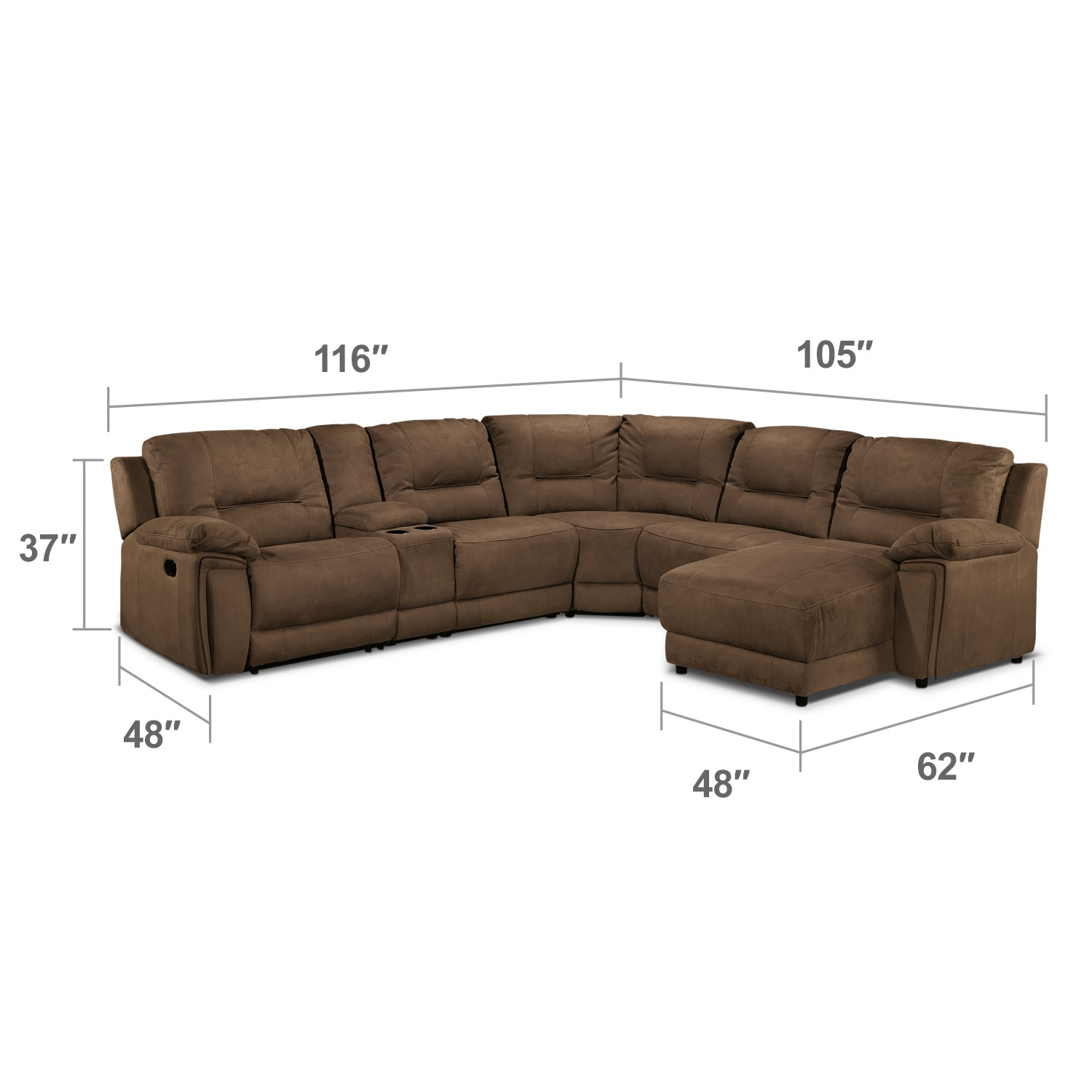 Living Room Furniture - Pasadena 6-Piece Right-Facing Reclining Sectional - Hazelnut
