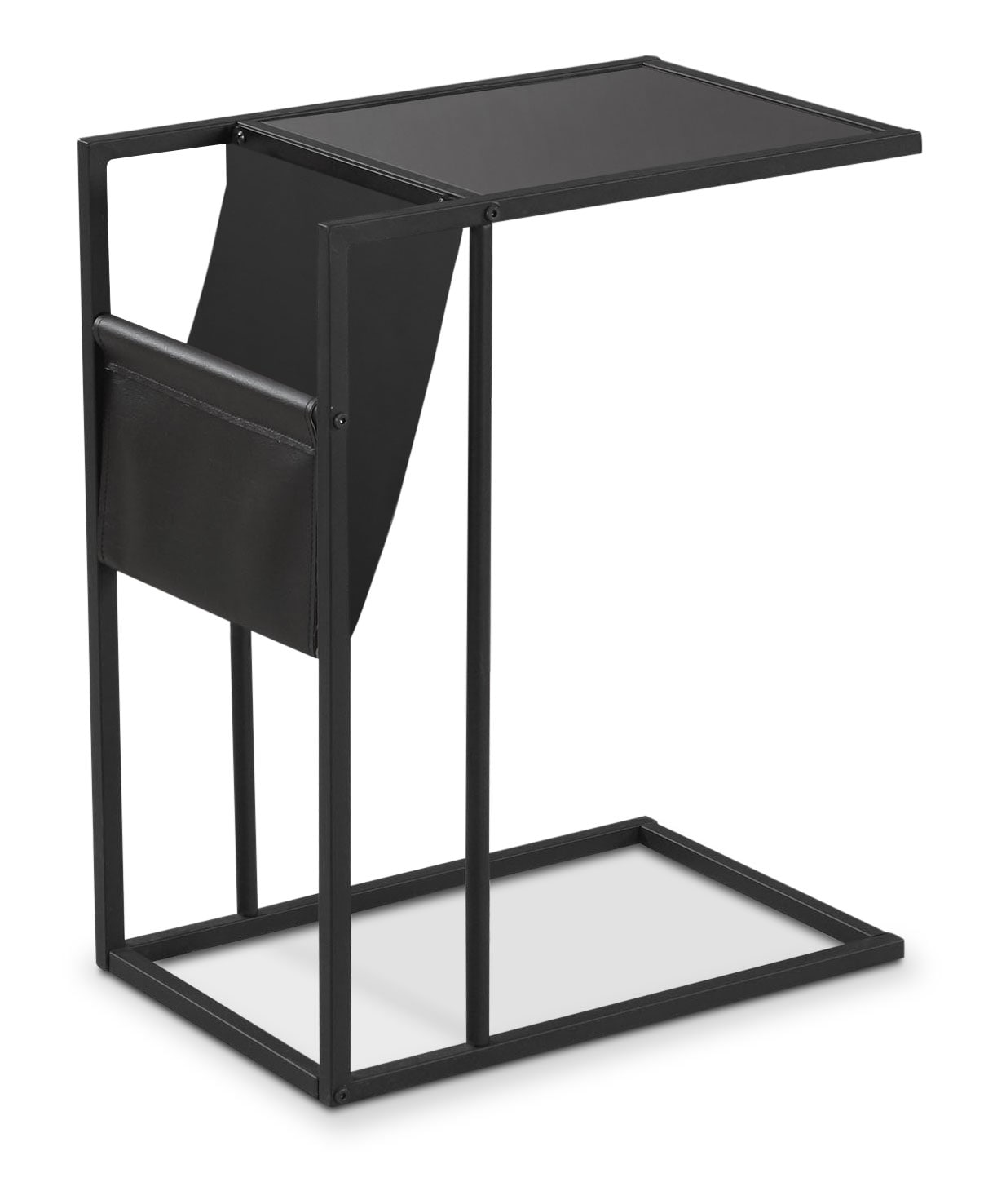 Durham Accent Table with Magazine Rack – Black