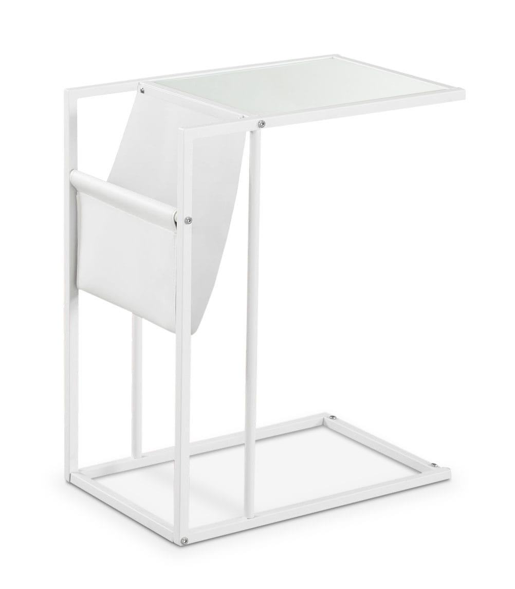 Accent and Occasional Furniture - Durham Accent Table with Magazine Rack – White
