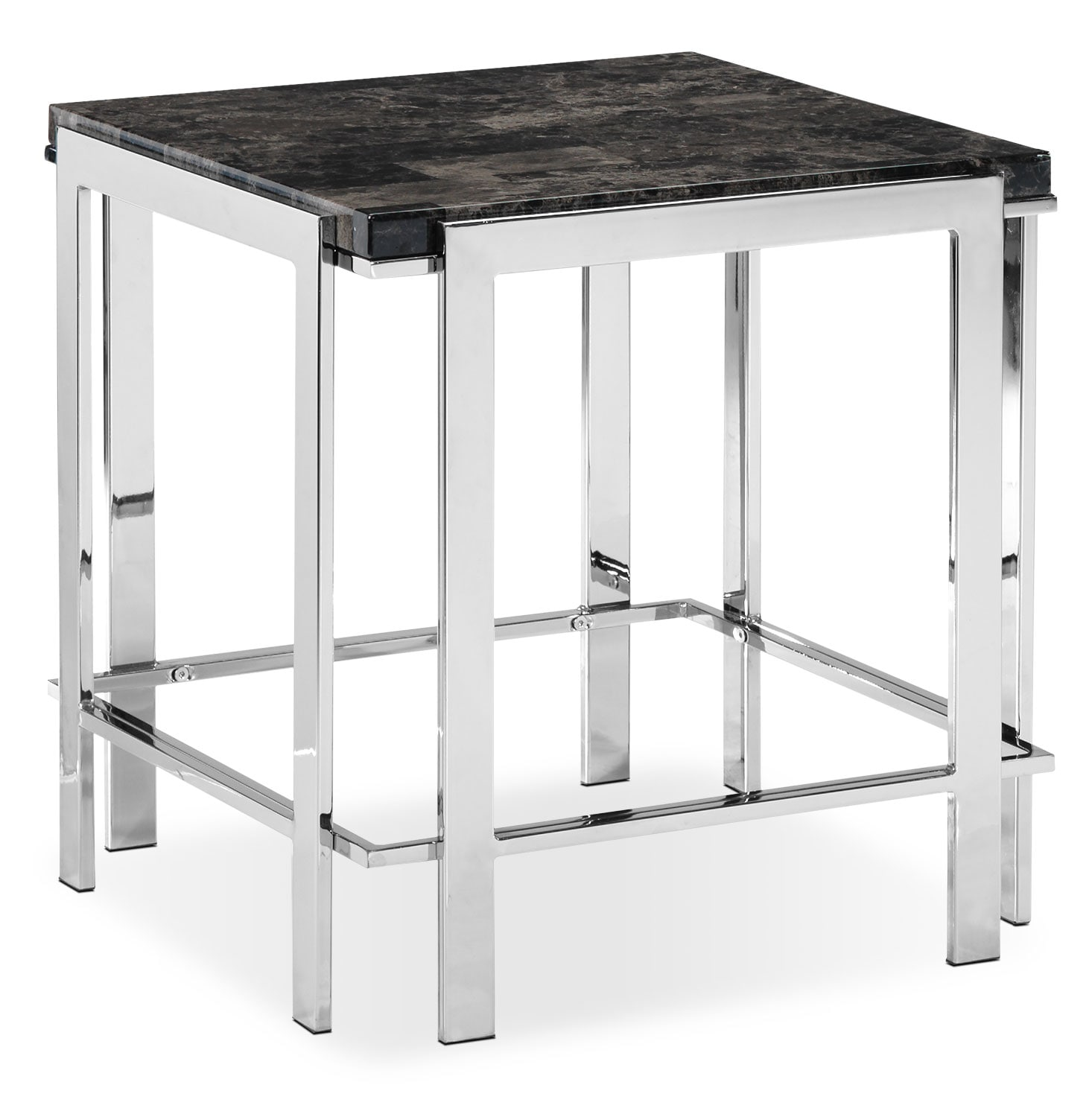 Iris End Table - Chrome and Black