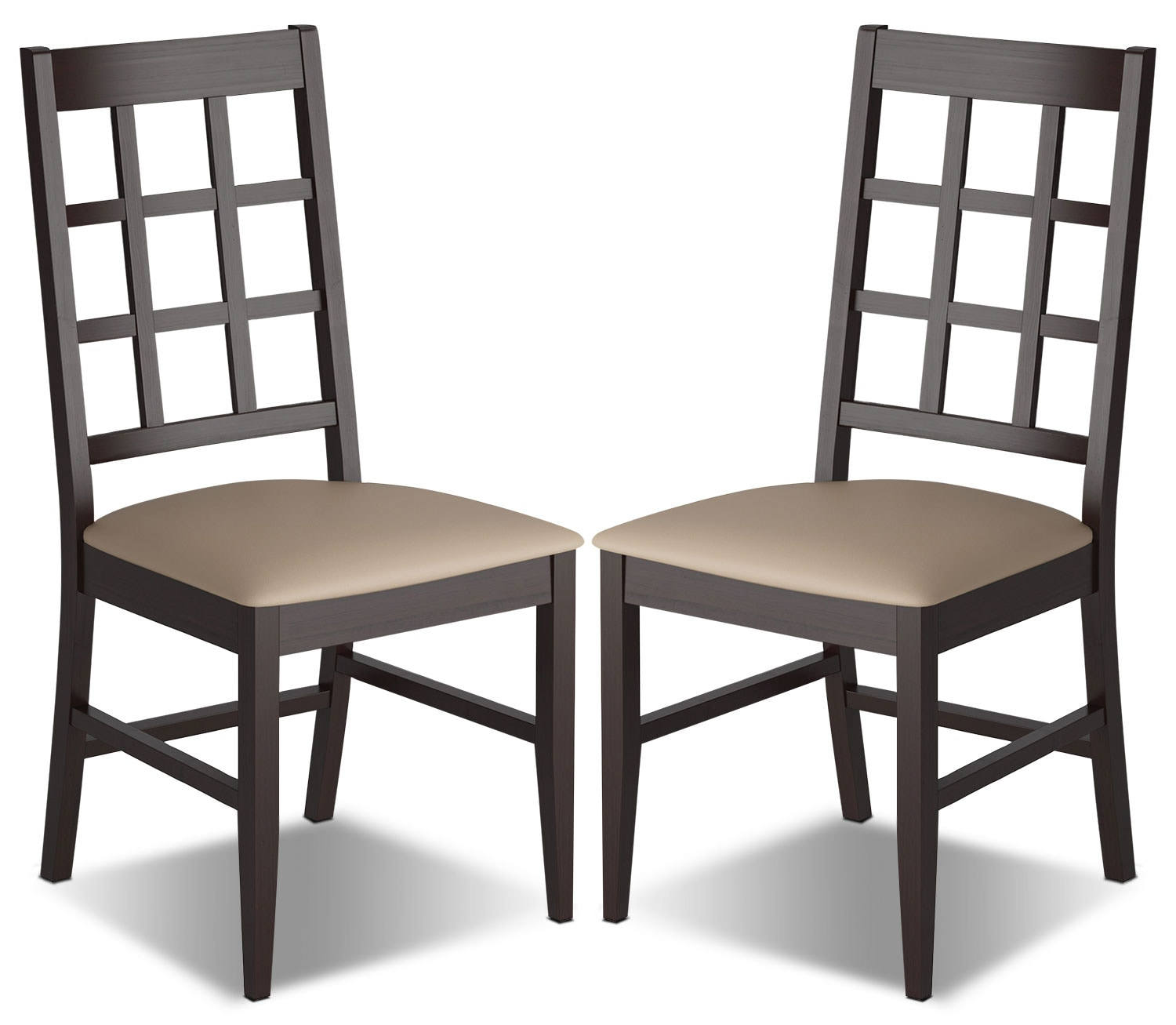 Dining Room Furniture - Atwood Dining Chair with Faux Leather Seat, Set of 2 – Grey