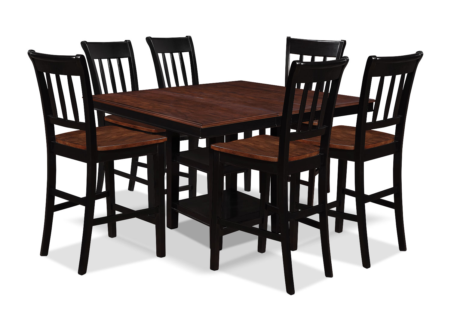 Dining Room Furniture - Nyla 7-Piece Counter-Height Dining Package – Black and Cherry