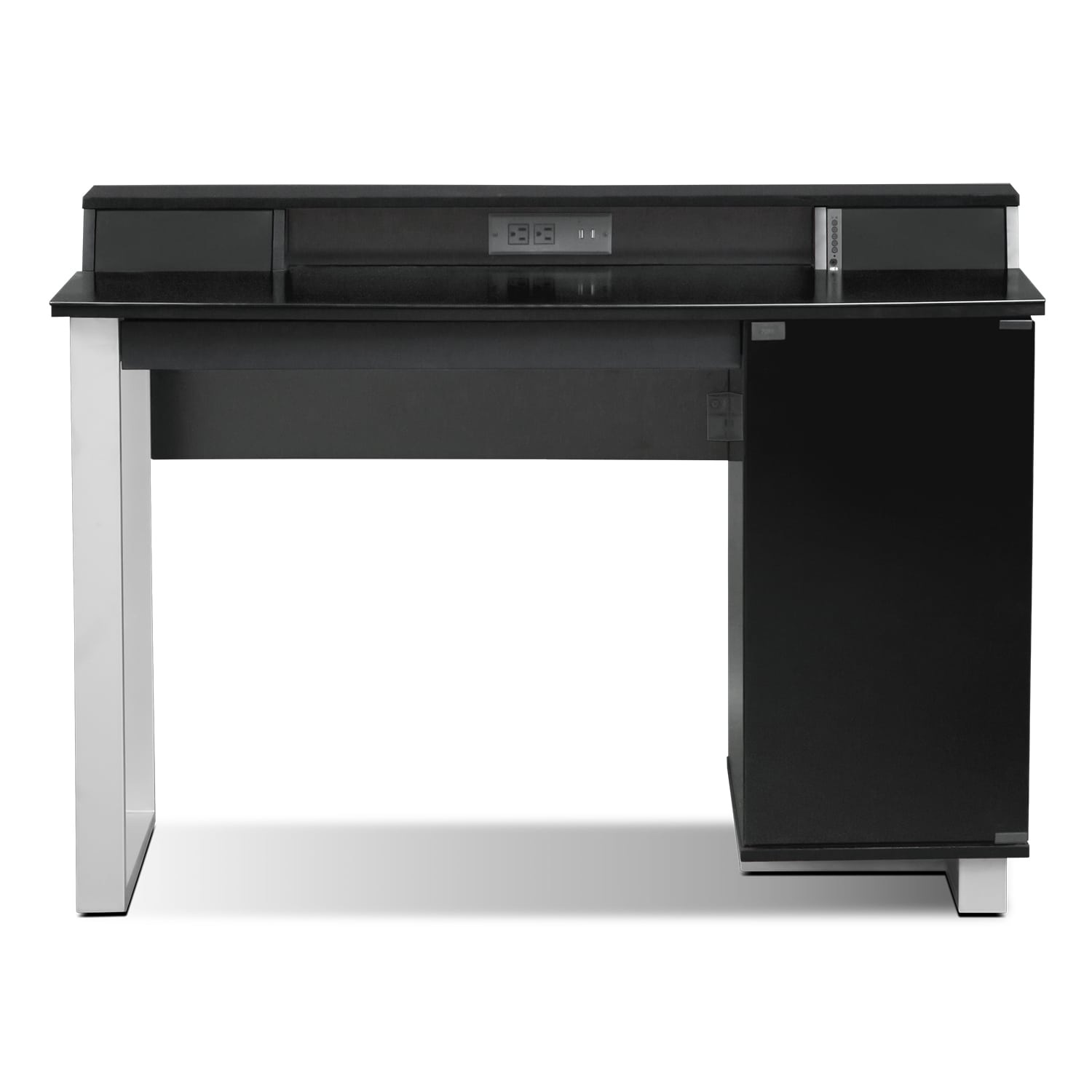 Pacer home office desk with sound black value city furniture - Value city office desk ...