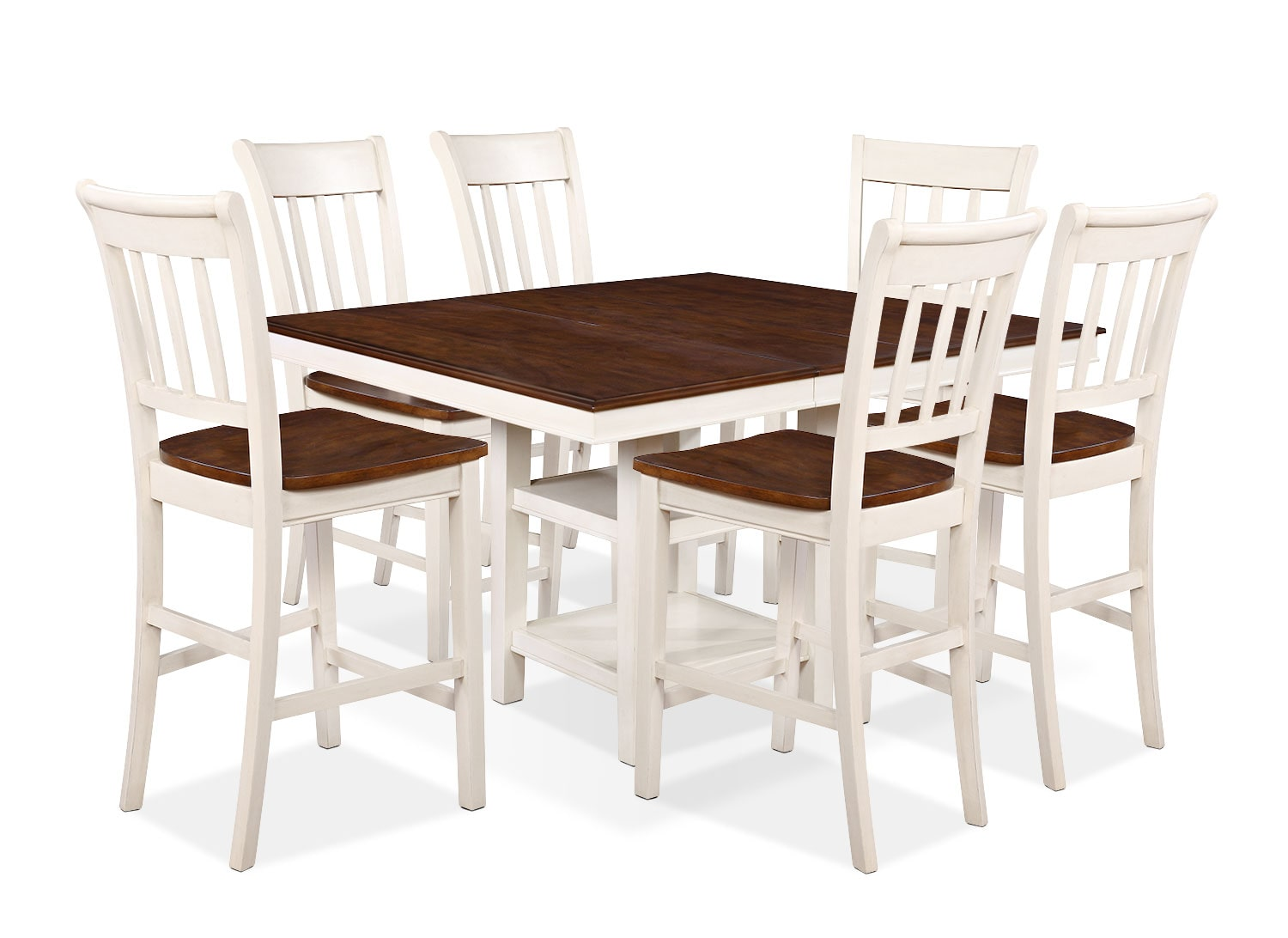 Dining Room Furniture - Nyla 7-Piece Counter-Height Dining Package – Antique White and Cherry