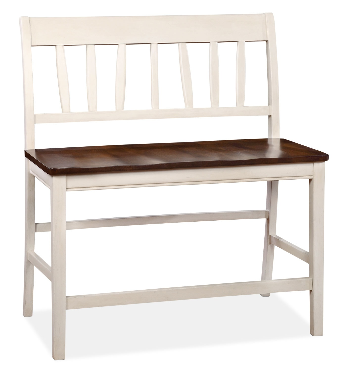 Dining Room Furniture - Nyla Counter-Height Dining Bench – Antique White and Cherry
