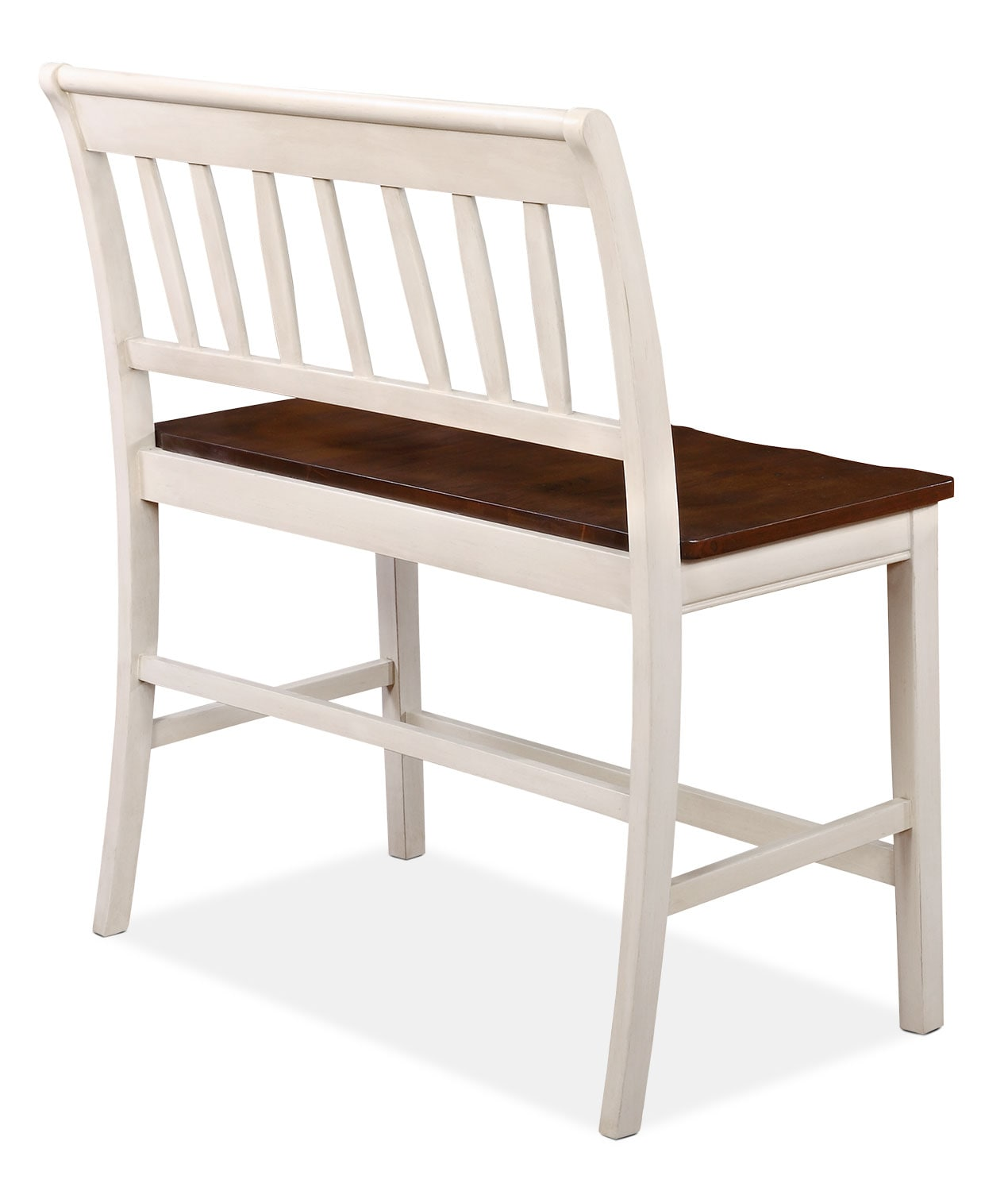 nyla counter height dining bench antique white and cherry the