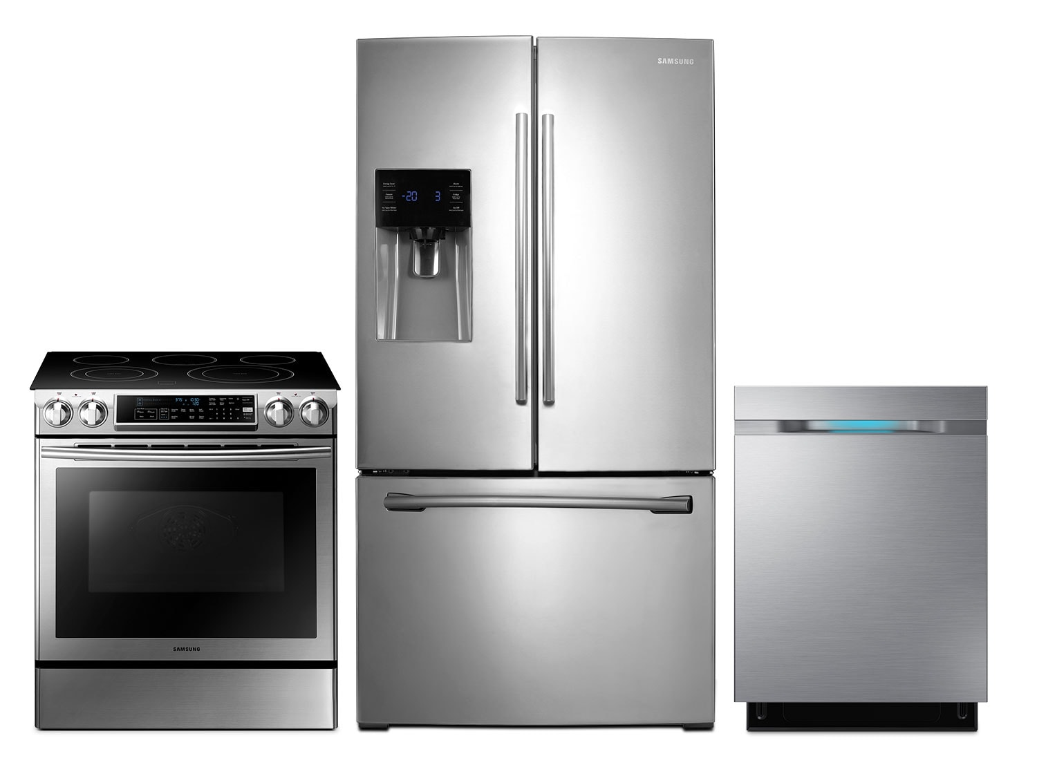 "Samsung 26 Cu. Ft. Refrigerator, 5.8 Cu. Ft. Electric Range and 24"" Built-In Dishwasher"