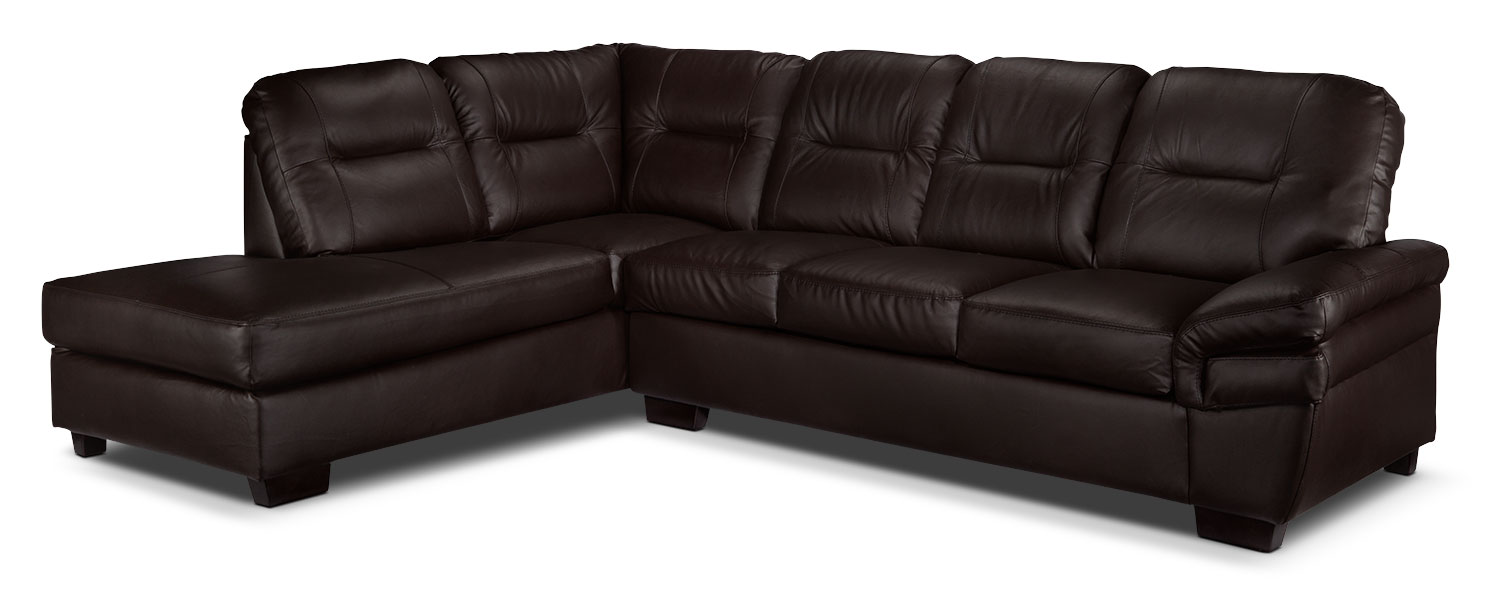 Living Room Furniture - Harper 2-Piece Left-Facing Sectional - Dark Chocolate