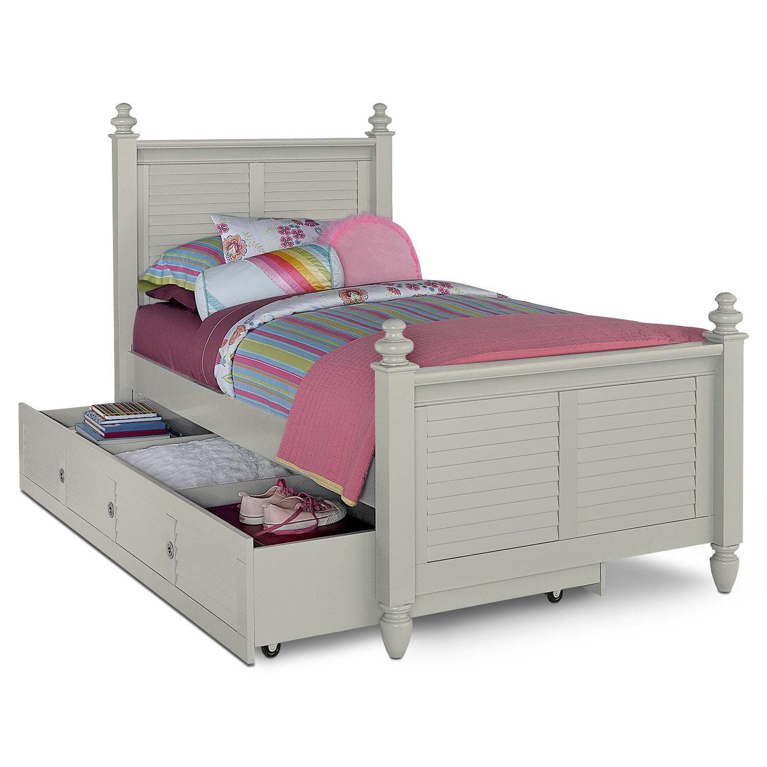 Seaside twin bed with trundle gray value city furniture for Beds with trundle