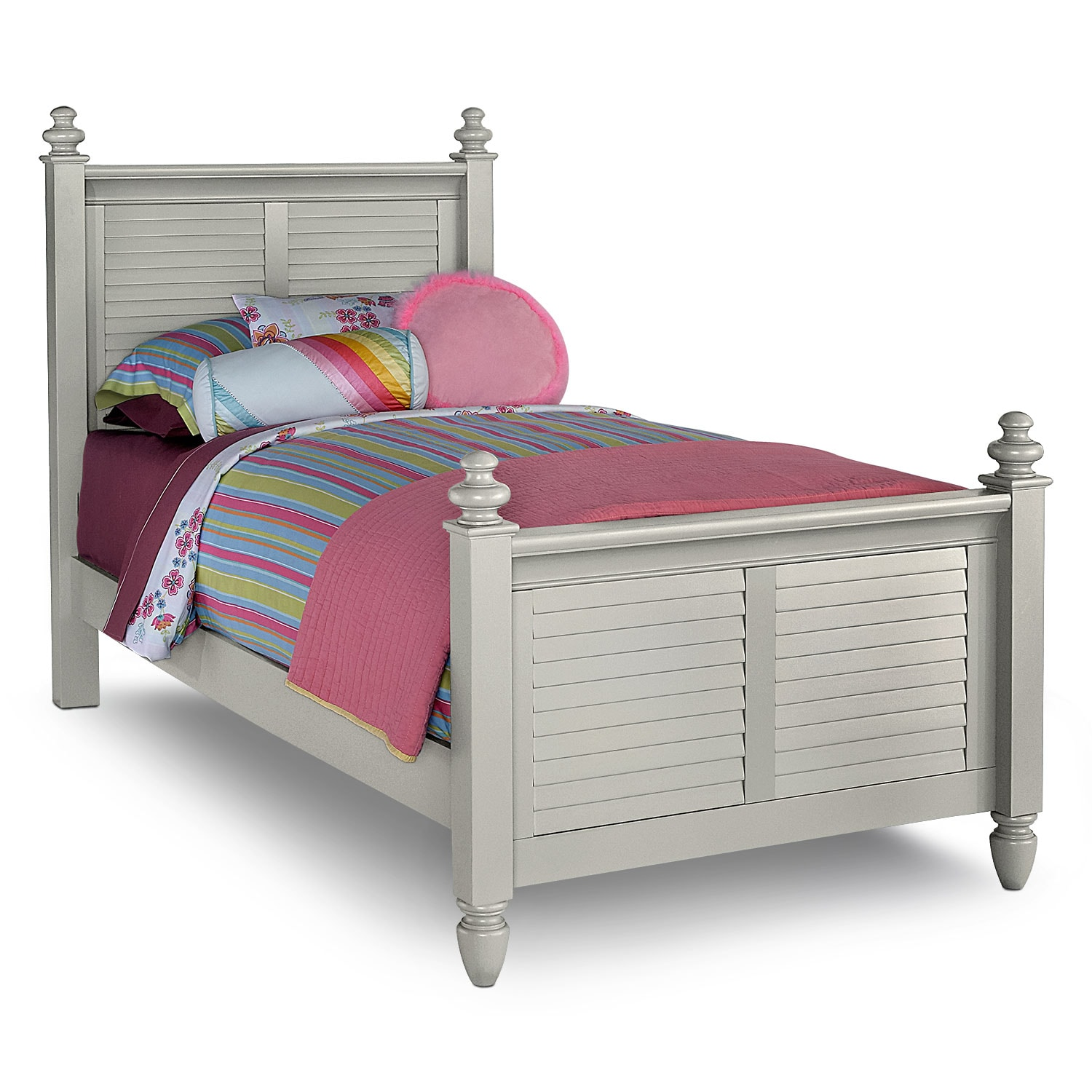 Seaside gray twin bed value city furniture for Furniture and beds