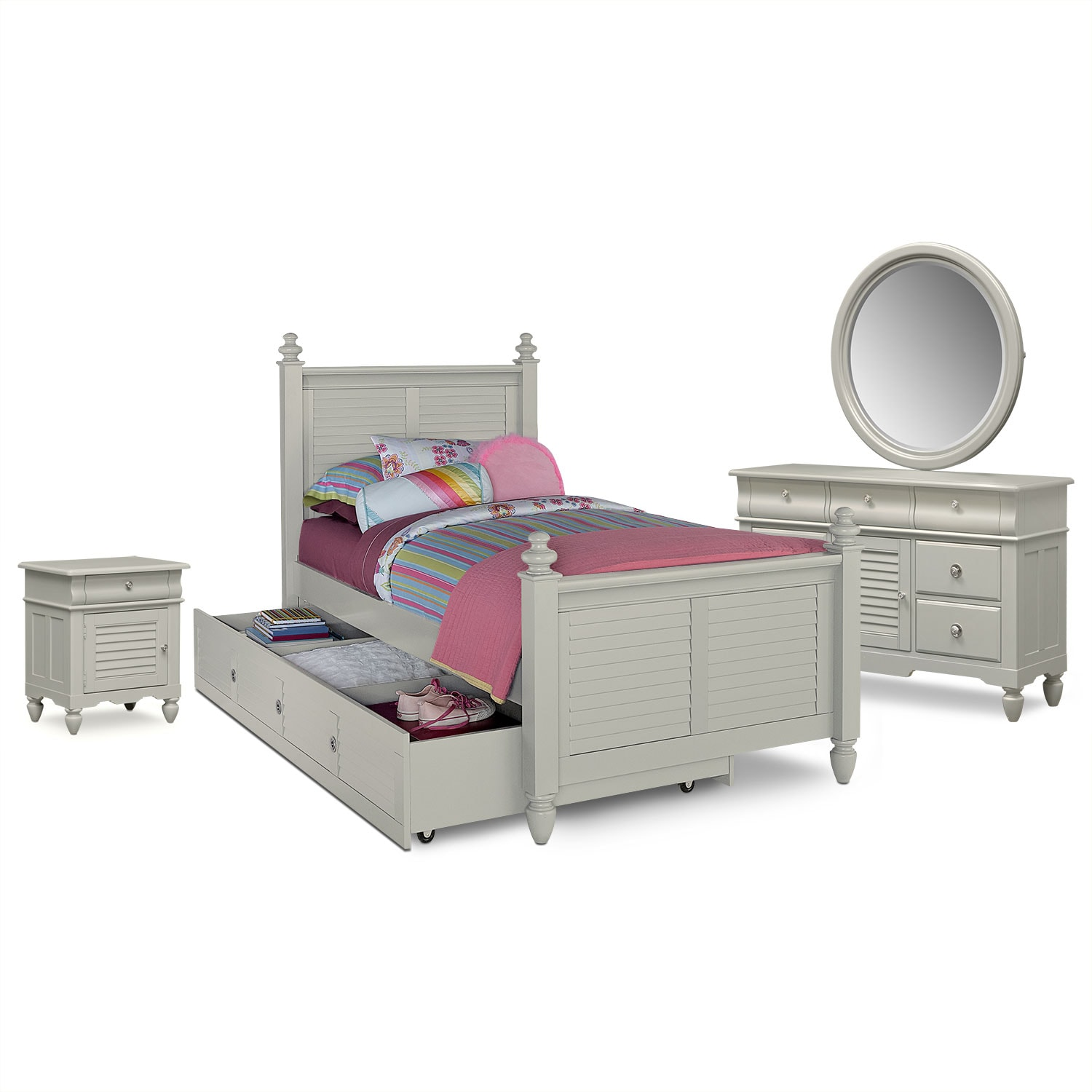 Seaside 6 piece full bedroom set gray value city furniture Seaside collection furniture