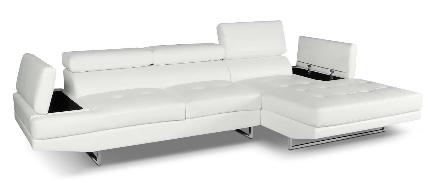 Living Room Furniture - Zamora 2-Piece Sectional - White