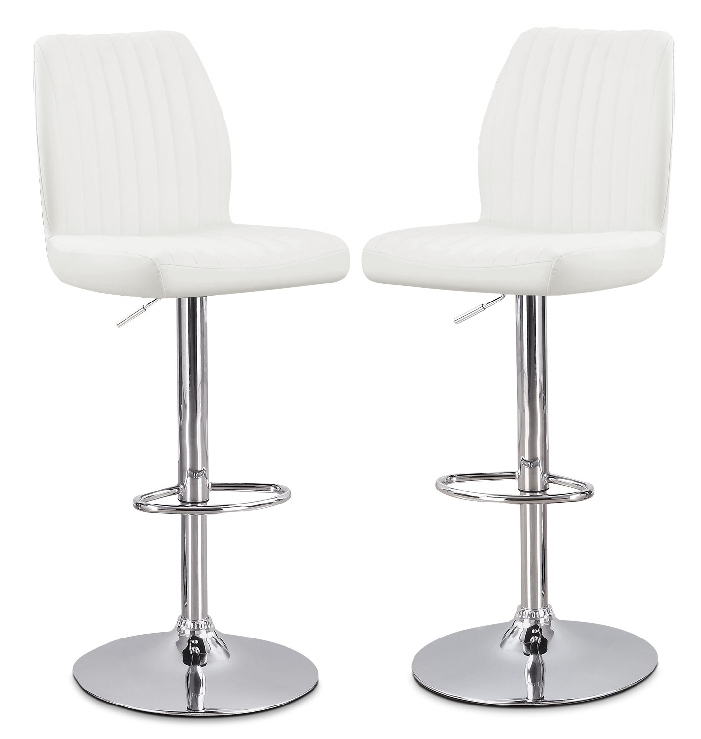Dining Room Furniture - Monarch Adjustable Bar Stool, Set of 2 – White
