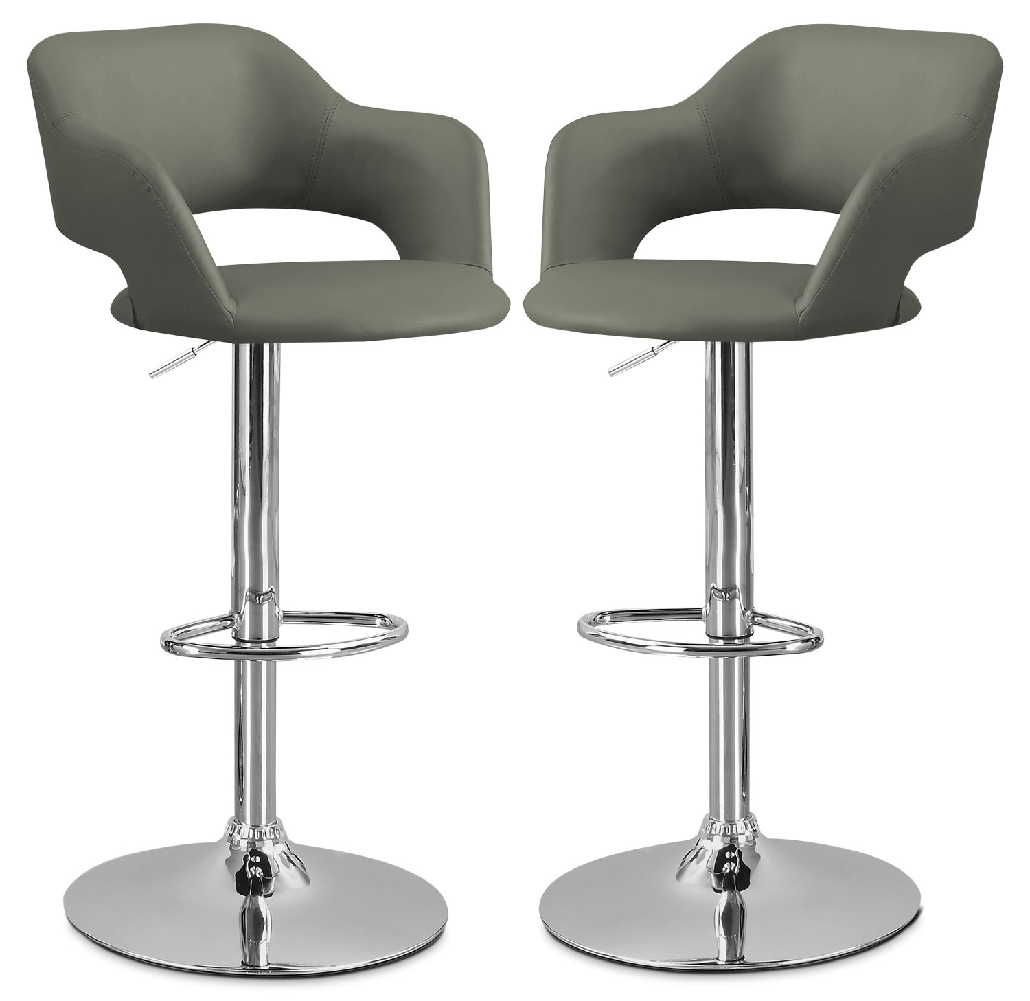 Monarch hydraulic contemporary bar stool set of 2 grey for Restaurant furniture