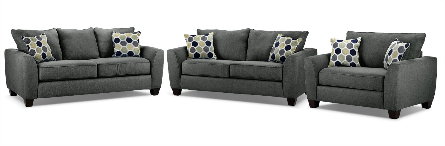 Heritage Sofa, Loveseat and Chair and a Half Set - Grey
