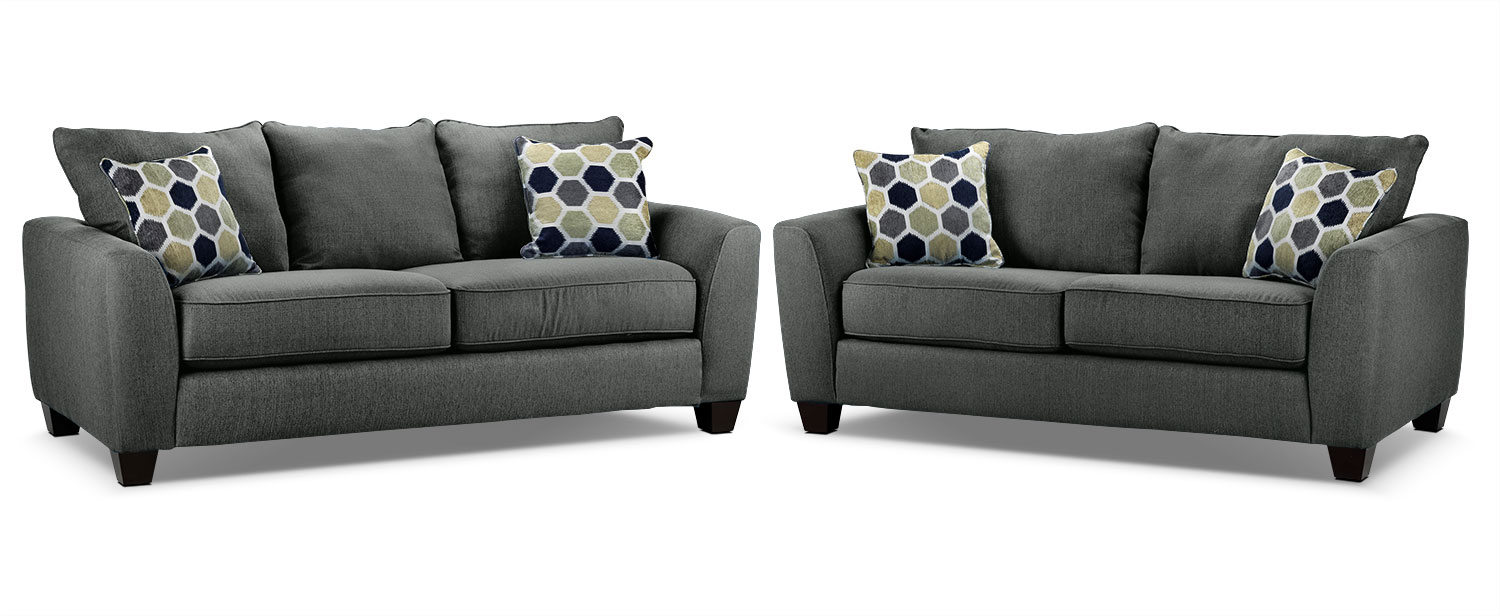 Heritage Sofa and Loveseat Set - Grey