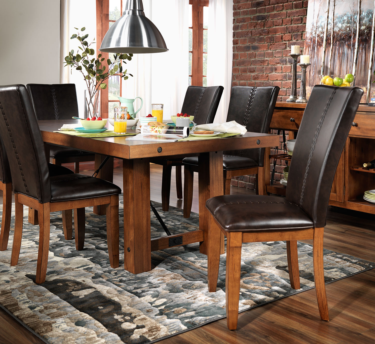 helix 7 piece dining room set oak leons 7 piece dining room