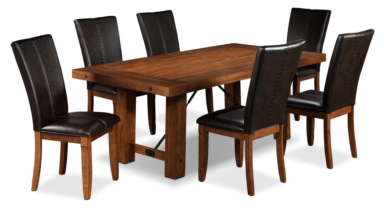 helix piece dining room set  oak  leon's - helix piece dining room set  oak