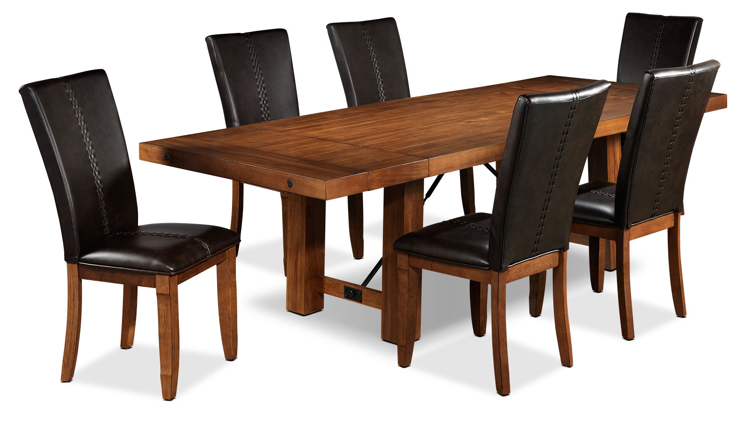 Helix 7 piece dining room set oak leon 39 s for Leon s dining room tables