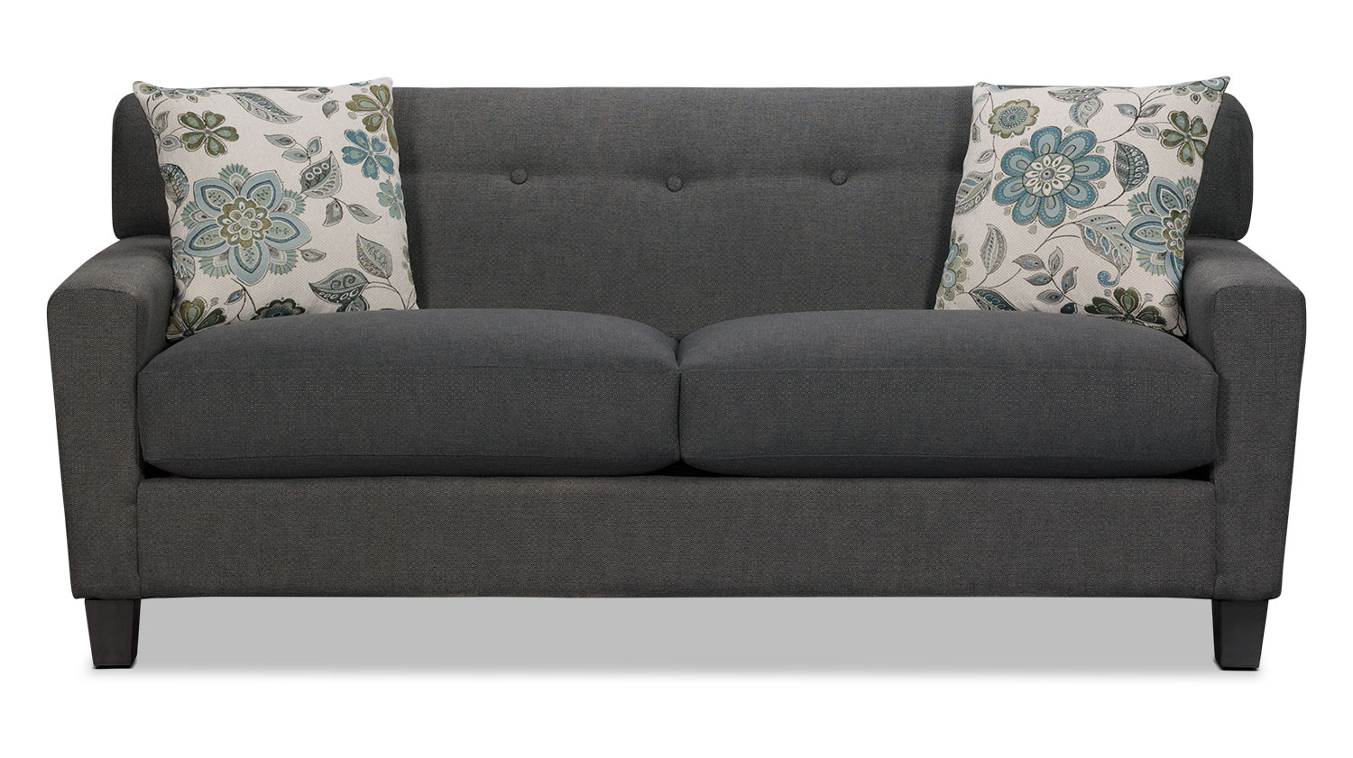 Living Room Furniture - Aubrey Linen-Look Fabric Sofa - Charcoal