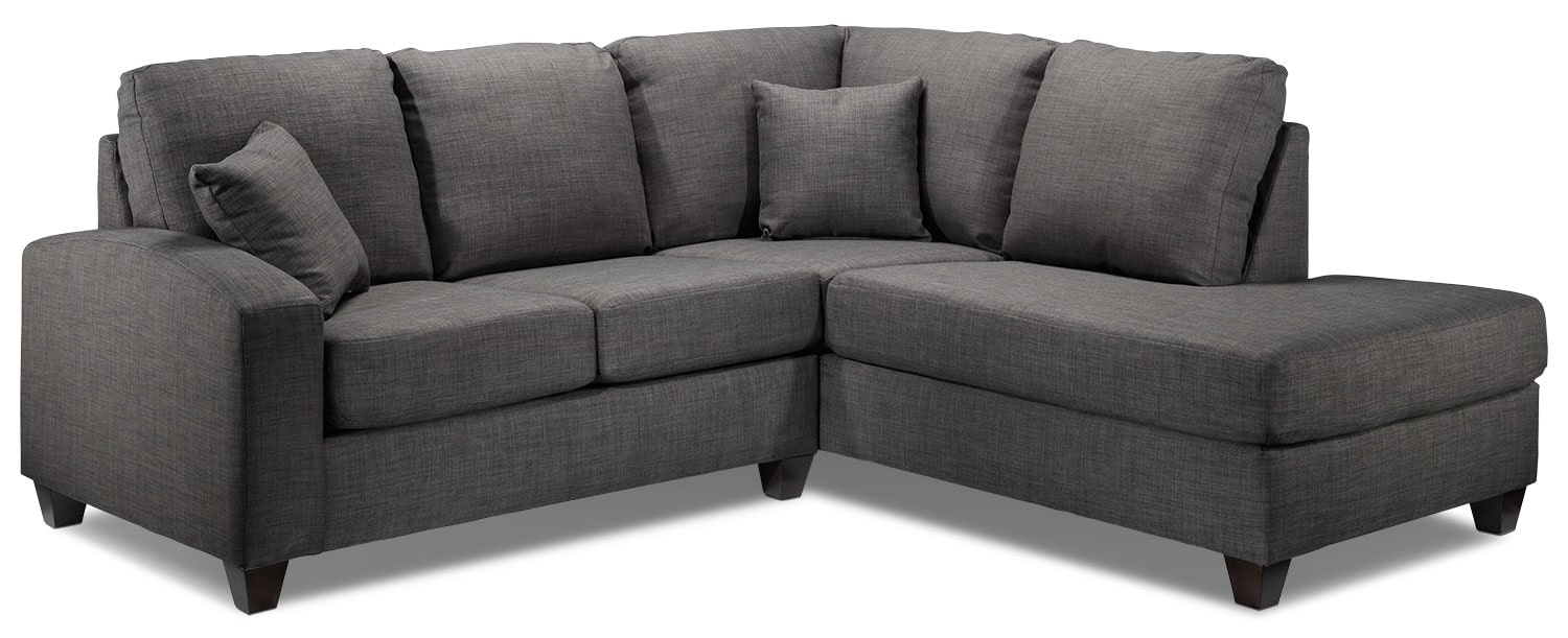 Living Room Furniture - Eisner 2-Piece Right-Facing Sectional - Charcoal