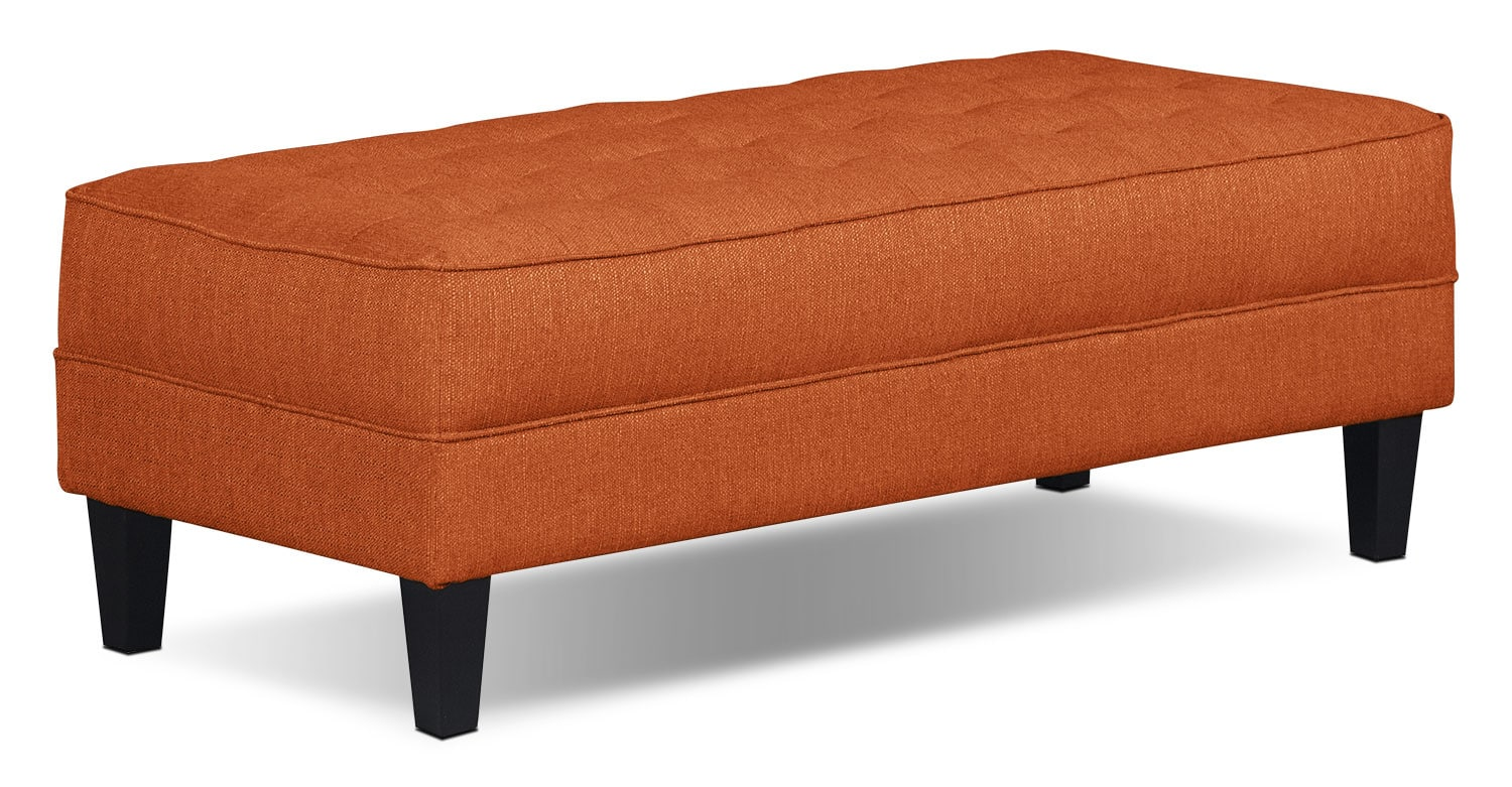 Paris Linen-Look Fabric Ottoman – Tangerine