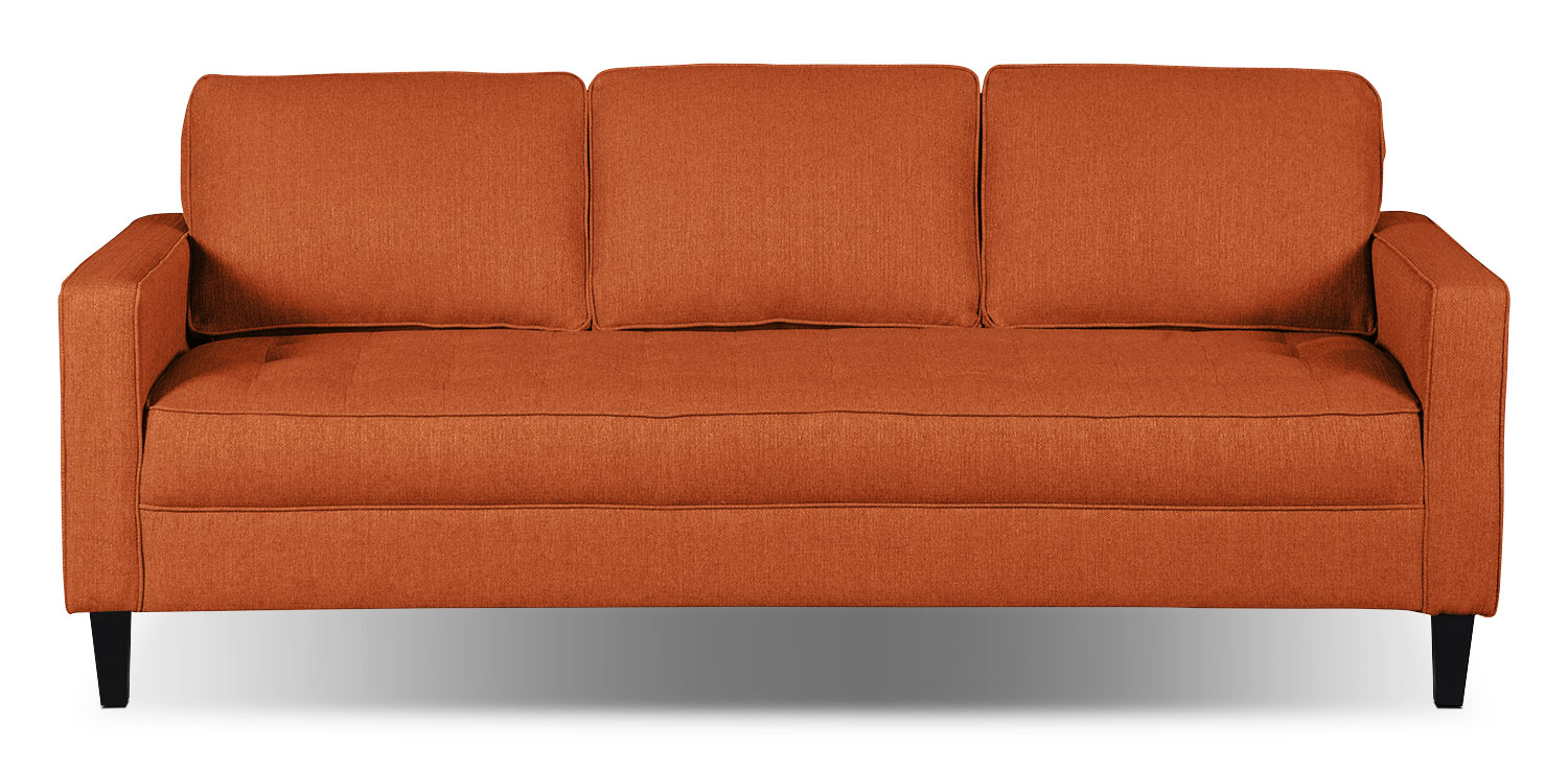 Paris Linen-Look Fabric Sofa – Tangerine