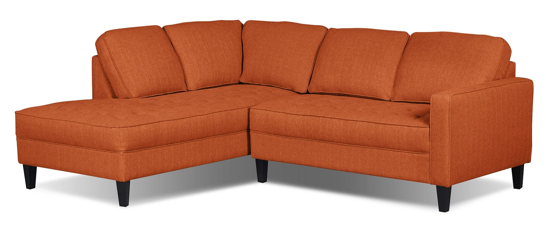 Paris 2-Piece Linen-Look Fabric Left-Facing Sectional – Tangerine