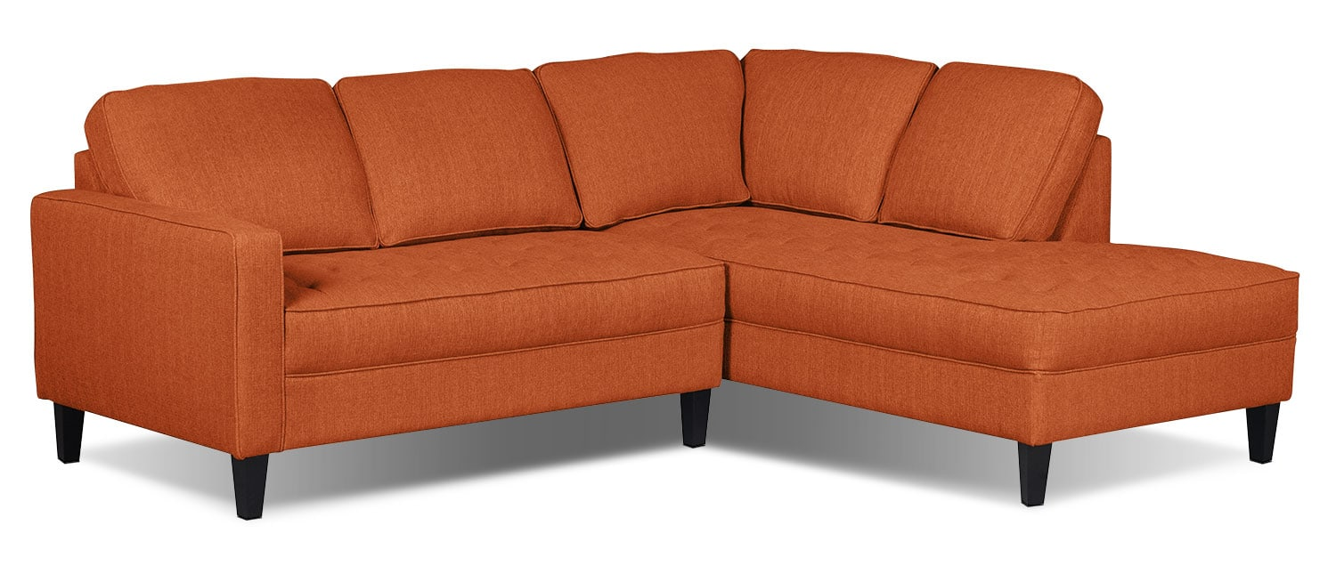 Living Room Furniture - Paris 2-Piece Linen-Look Fabric Right-Facing Sectional – Tangerine