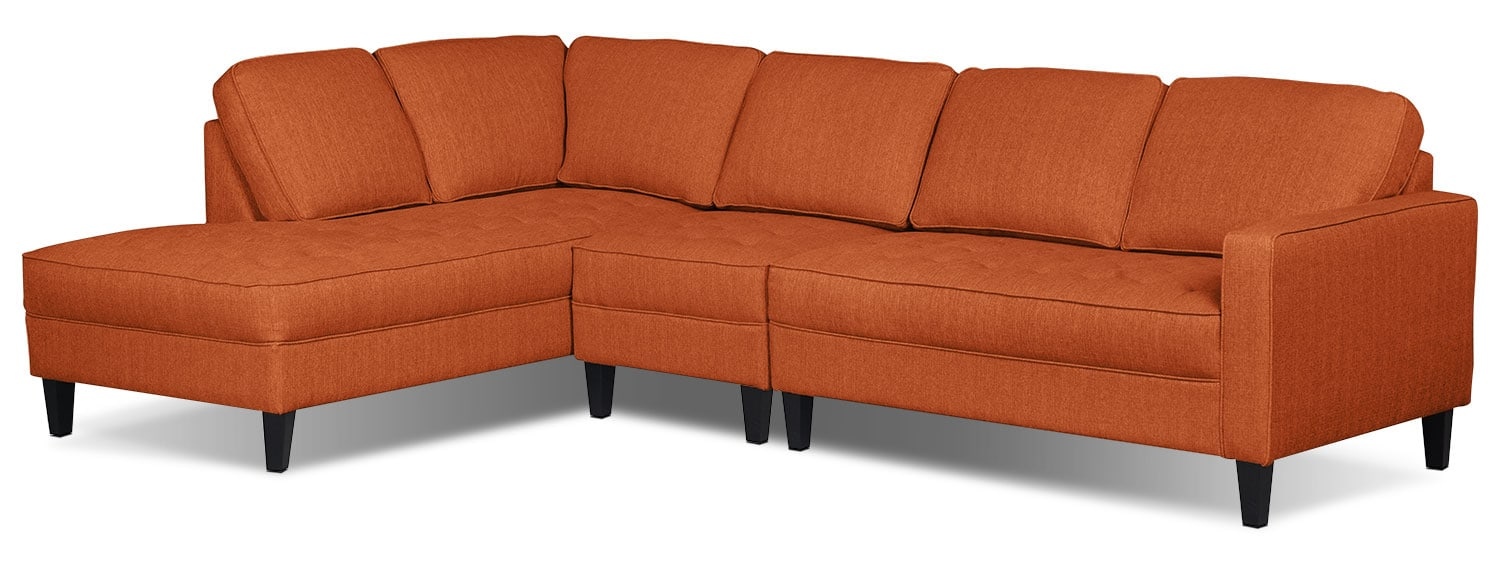 Paris 3-Piece Linen-Look Fabric Left-Facing Sectional – Tangerine