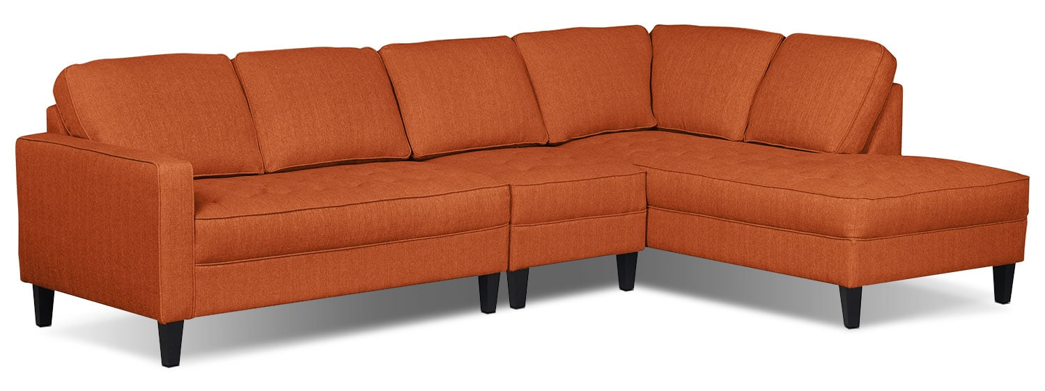 Living Room Furniture - Paris 3-Piece Linen-Look Fabric Right-Facing Sectional – Tangerine