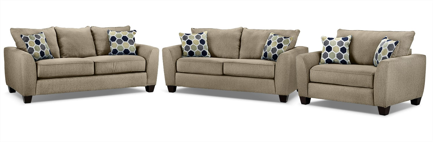 Heritage Sofa, Loveseat and Chair and a Half Set - Beige