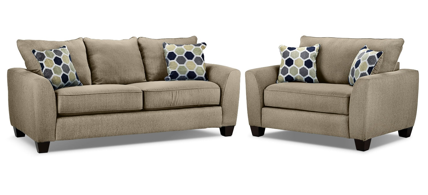 Heritage Sofa and Chair and a Half Set - Beige