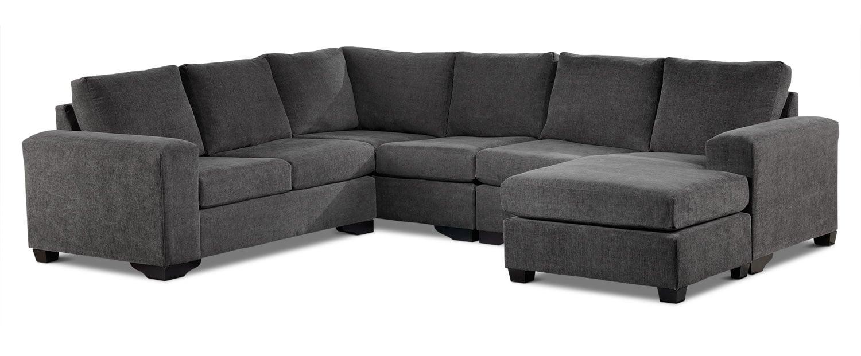 Mobilier de salle de séjour - Danielle Sectionnel 3 mcx avec coin et fauteuil allongé à droite – gris