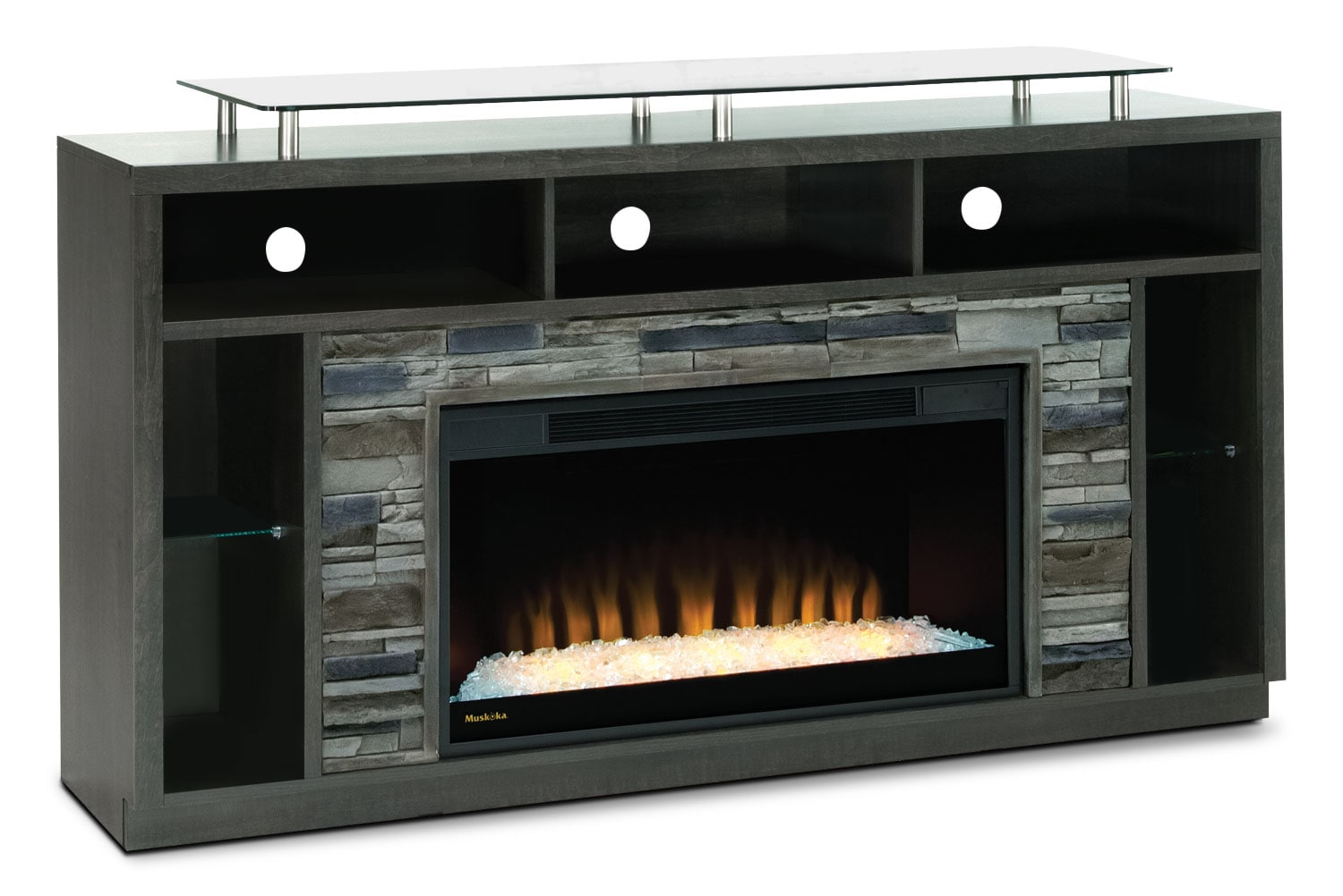 "Arlington 71"" TV Stand with Glass Ember Firebox – Anthracite"