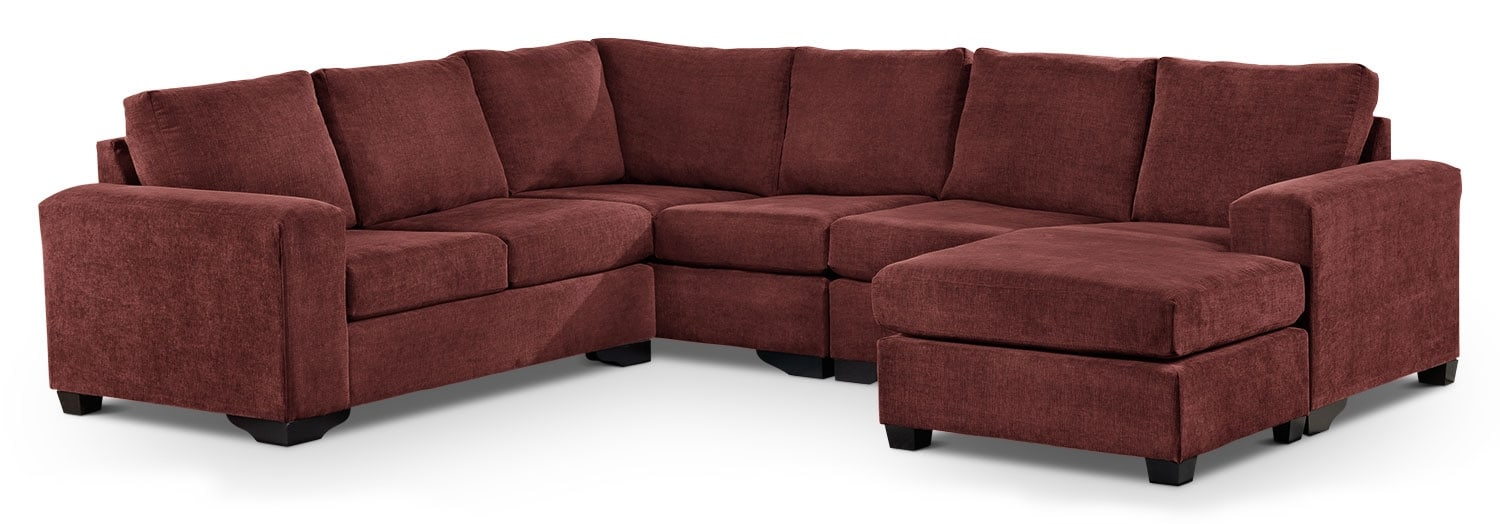 Living Room Furniture - Danielle 3-Piece Sectional with Right-Facing Corner Wedge - Mulberry