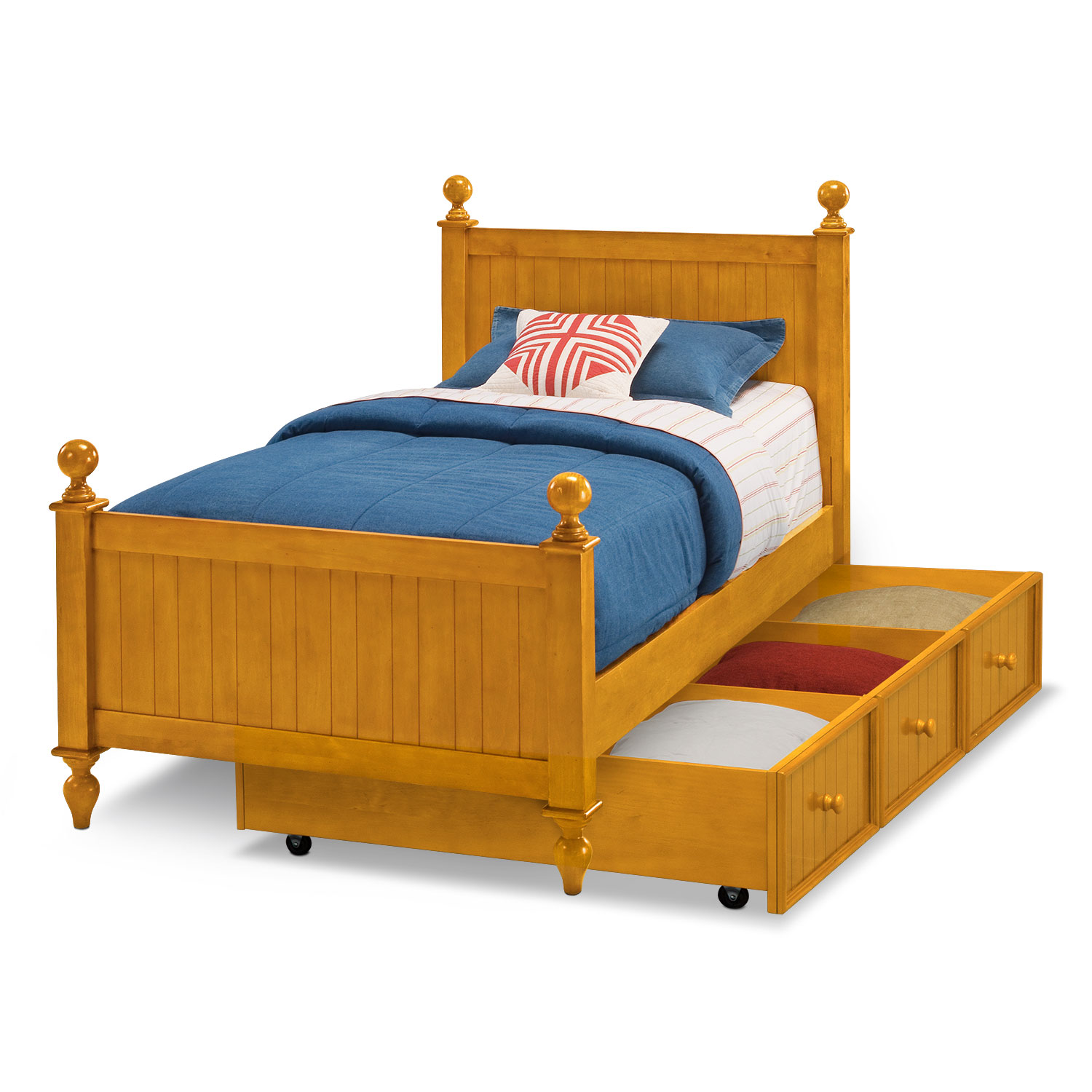 Colorworks twin bed with trundle honey pine value city for Beds with trundle