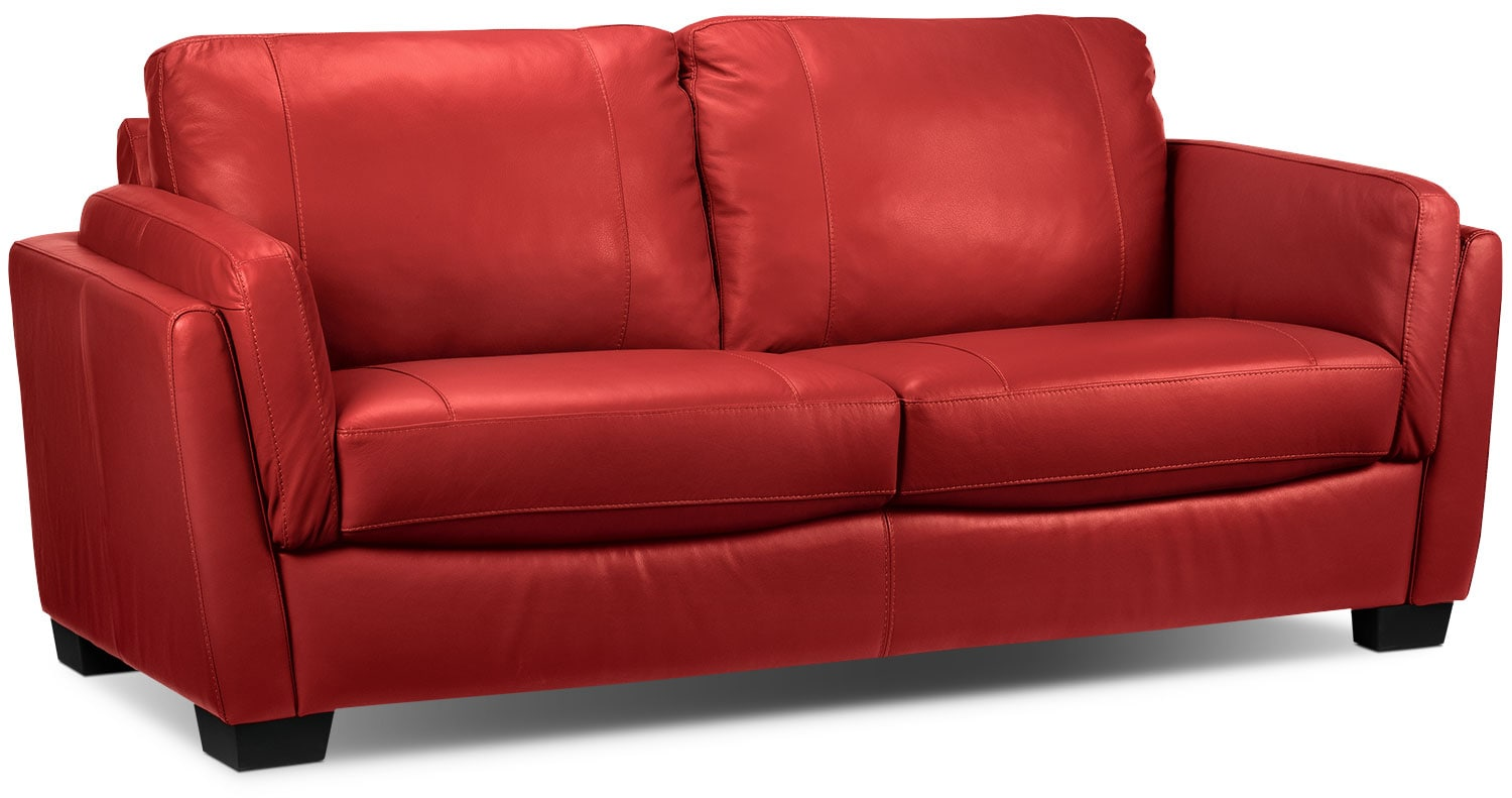 Living Room Furniture - Isadore Sofa - Red