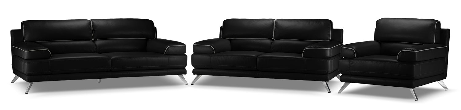 Sutton Sofa, Loveseat and Chair Set - Black