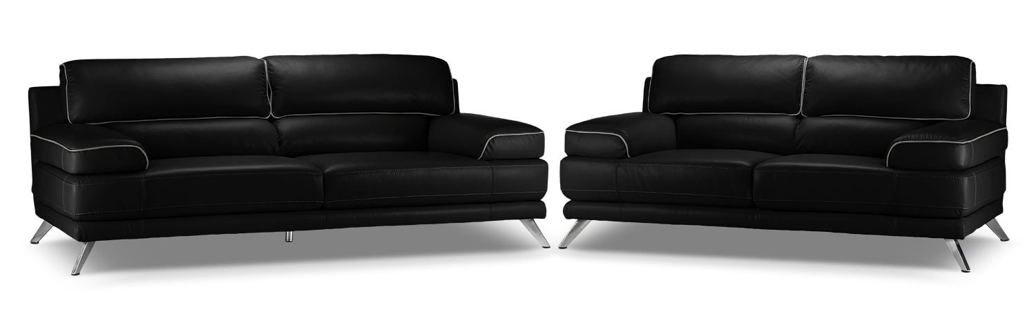 Sutton Sofa and Loveseat Set - Black