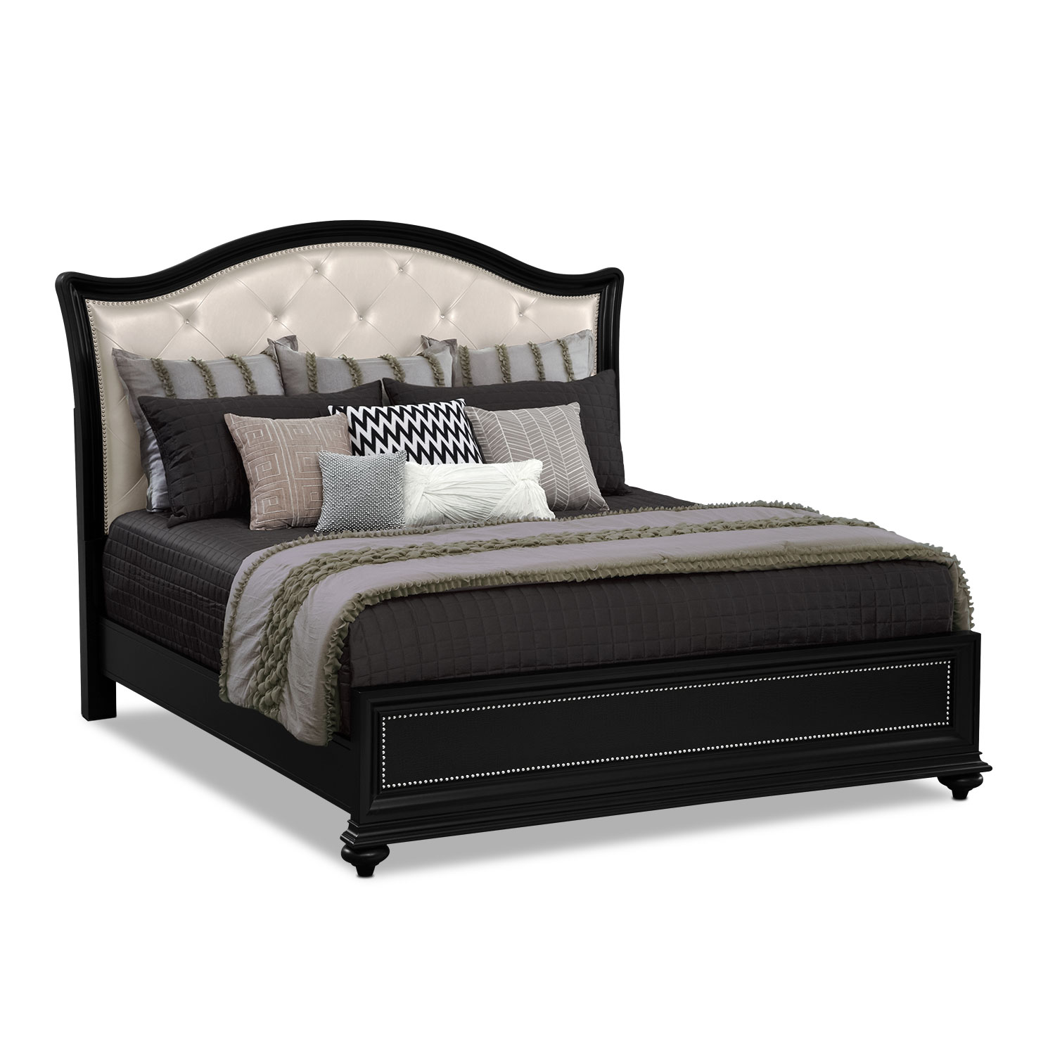 Marilyn 5 Piece King Bedroom Set Ebony American Signature Furniture