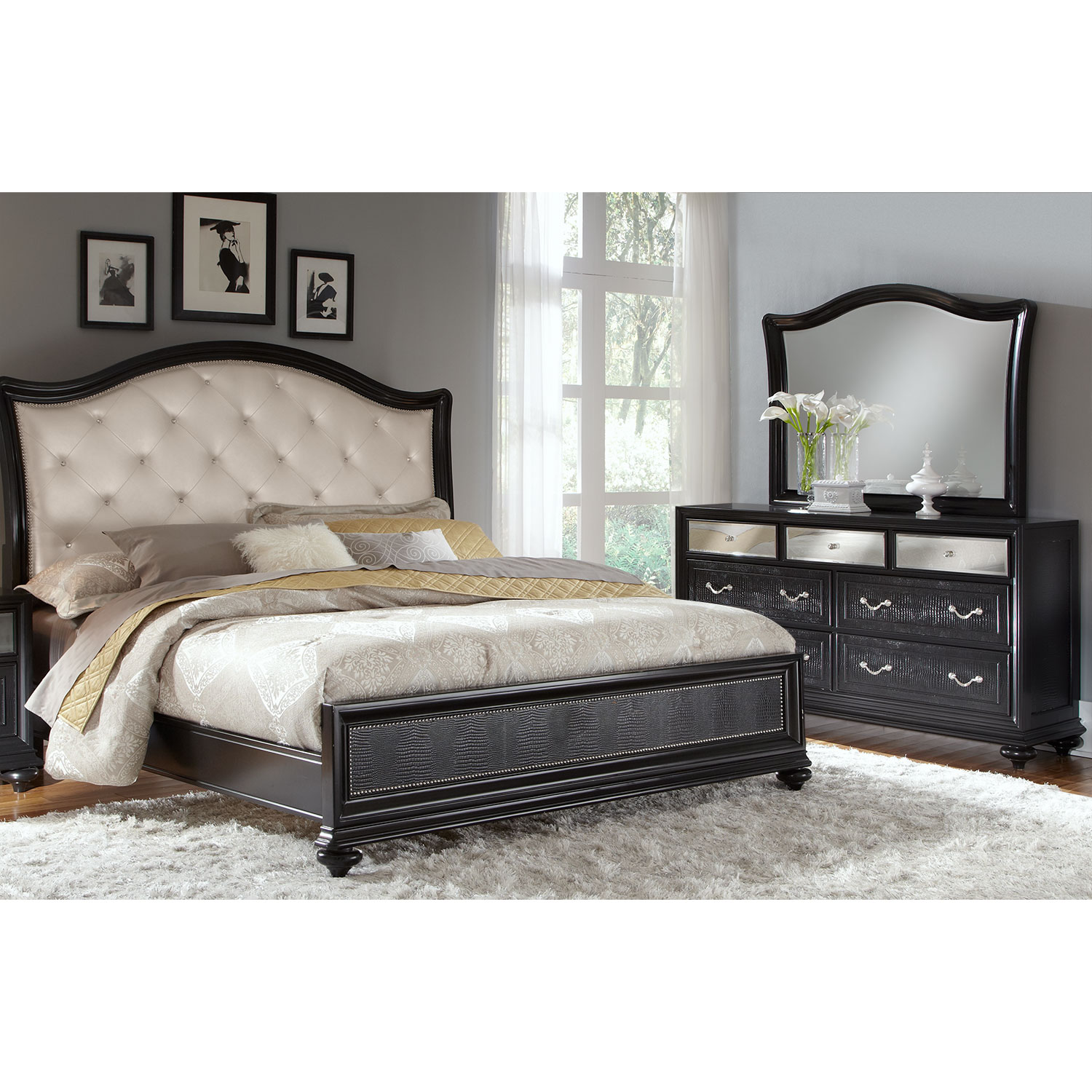 169998 marilyn 5 piece queen bedroom set ebony by pulaski