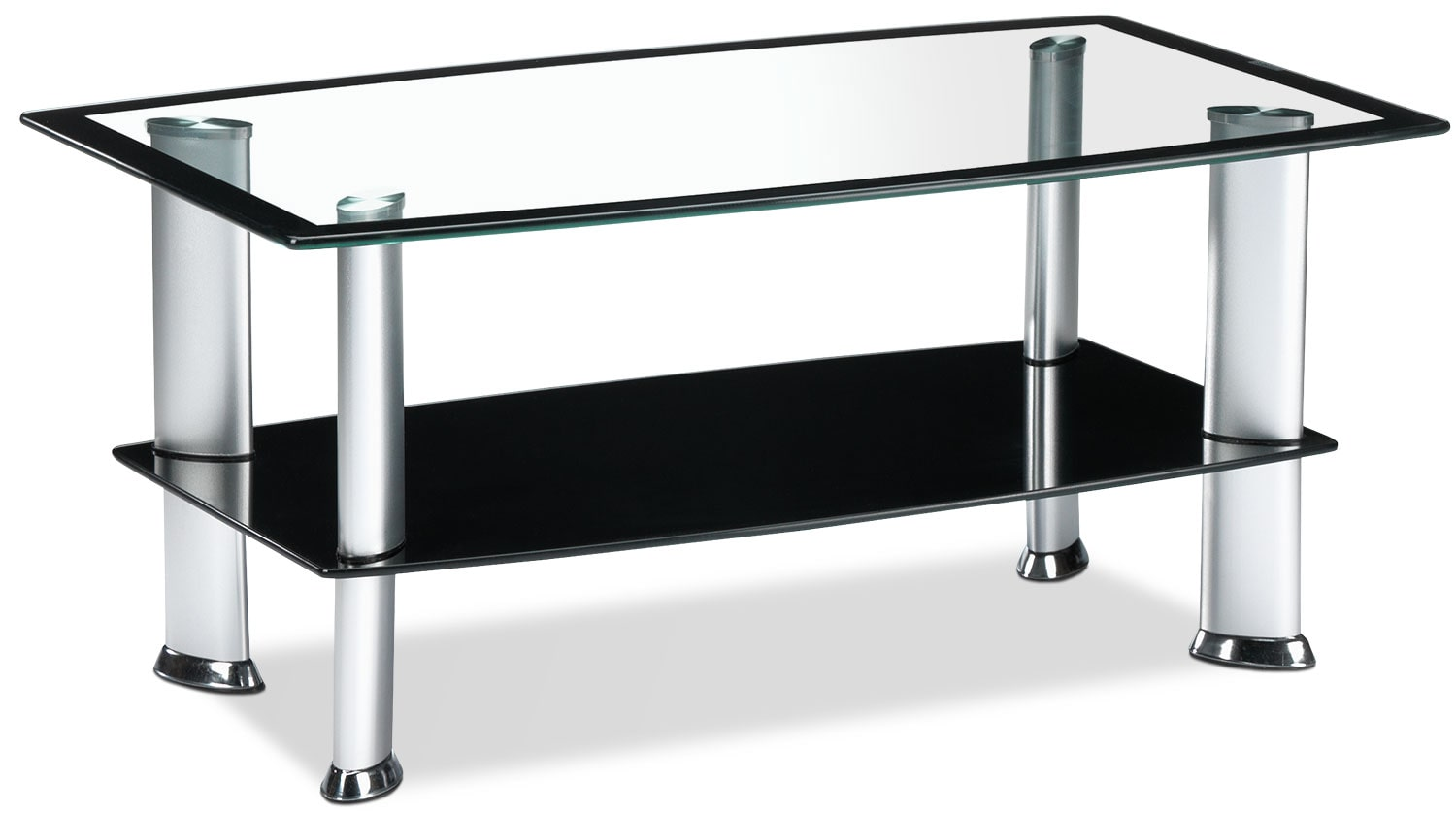 coffee tables  leon's - delta coffee table  silver and black