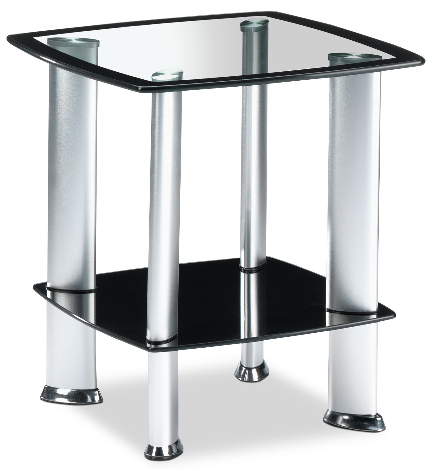 Coffee Table Sets Leons: Delta End Table - Silver And Black