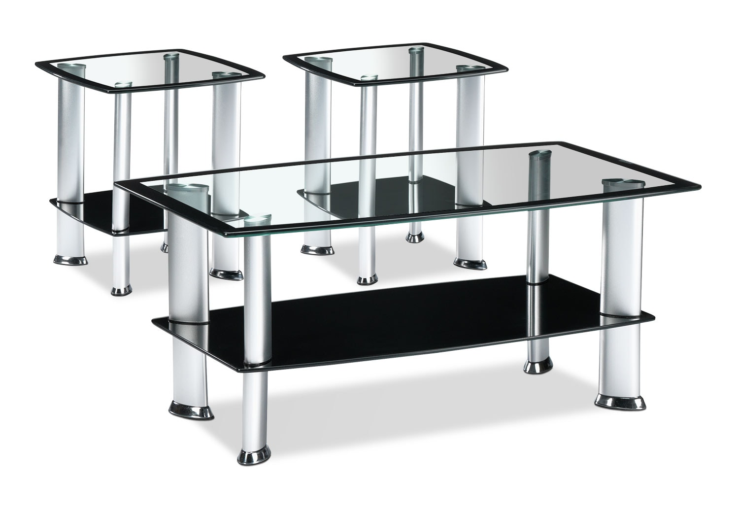 Delta coffee table and two end tables silver and black leon 39 s for Black end tables for living room